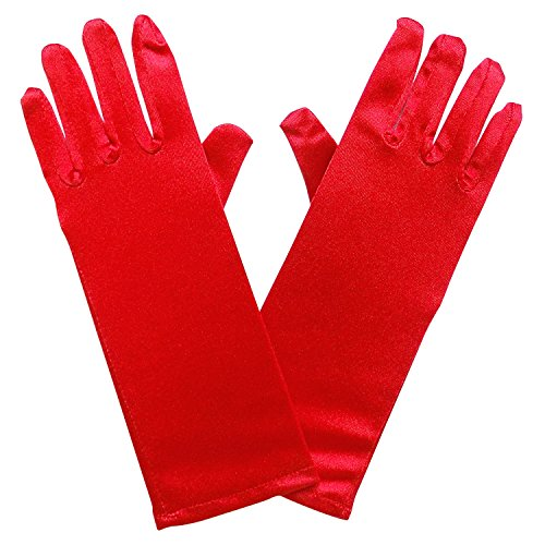 So Sydney Kids Long Dress-Up Princess Costume Gloves, Soft Satin Shimmer Fabric (Red (Merry (Costumes Satin)