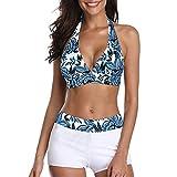 Zando Women's Bikini Swimsuit Two Piece Bathing Suits Halter Push Up Bikini Top with Athletic Boyshort Bikini Set Bikinis Swimming Suit for Women Leaf White 6-8