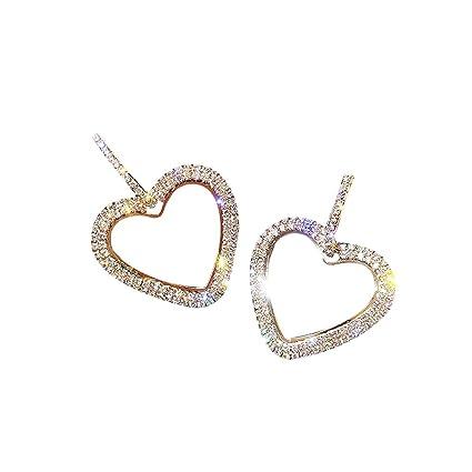 fc180093371a3 Sacow Women Stud Earrings, Fashion Heart Diamond Earrings Valentine Day's  Jewelry Accessories (Gold)