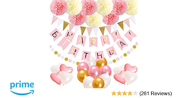 Acetek Birthday Decorations Party SuppliesHappy Banner15 Triangle Bunting Flags9 Pom Poms Flowers17 Balloons1 Pink And Gold Dot
