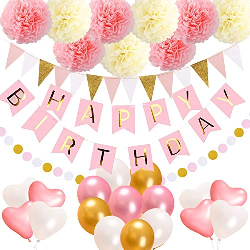 acetek Birthday Decorations Party Supplies,Happy Birthday Banner,15 Triangle Bunting Flags,9 Pom Poms Flowers,17 Birthday Balloons,1 Pink and Gold Dot Garland for Kids Girl 1st Birthday Sign Party -
