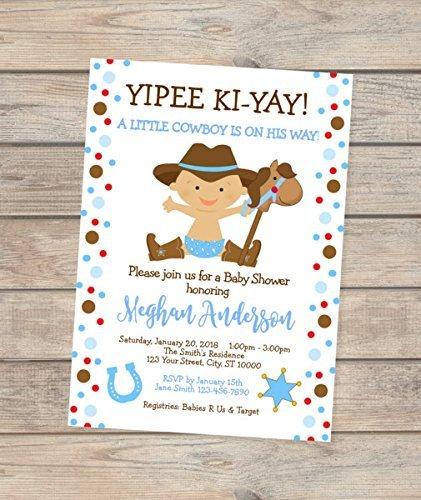 Little Cowboy Baby Shower Invitation, Western Baby Cowboy Baby Shower (Cowboy Baby Shower Invitations)