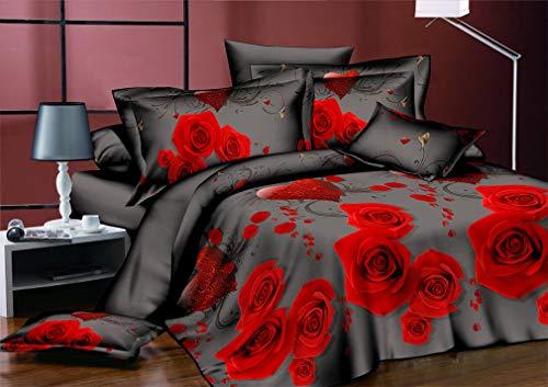 Mandarin Duck 3D Flower Rose Feast Pattern Bedding Set Bed Sheets Duvet Cover Pillowcase 4Pcs/Set Rose Drifting ()