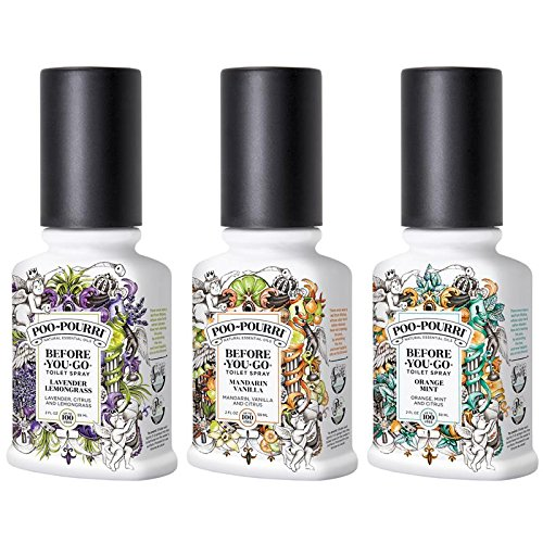 Poo-Pourri Before-You-Go Toilet Spray Amazon Exclusive 2 oz Bundle, Lavender Lemongrass, Mandarin Vanilla, Orange Mint Scents by Poo-Pourri