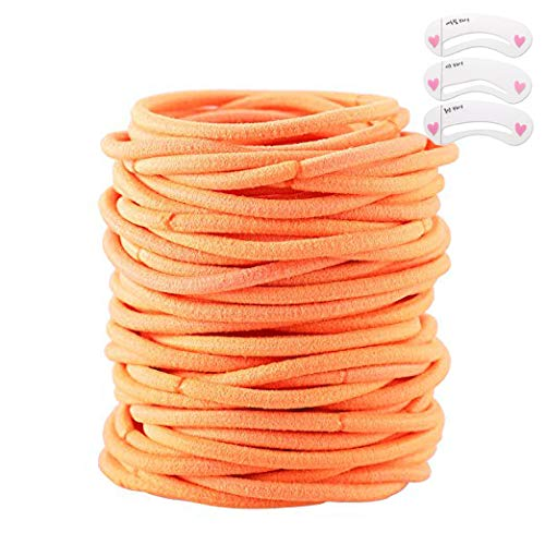 - Coobbar 100pcs Women Elastic Hair Ties Band Ropes Ring Ponytail Holder (Orange)