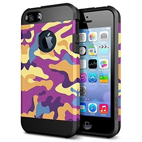 Funda iphone 5 / 5S / SE, Cáscara iphone 5 / 5S / SE, Alfort 2 en 1 Casco de Protección PC + TPU para el iphone 5 / 5S / SE Material de la PC + TPU de alta calidad diseño de moda + Toque Pluma Negro ( Color de Camuflaje