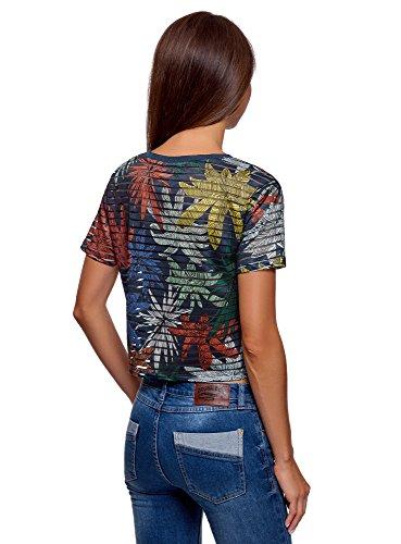 donna Oodji Ultra 7662f tagliate multicolore a righe T shirt qWwfPAIPz
