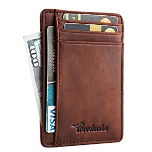 Travelambo Front Pocket Minimalist Leather Slim Wallet RFID Blocking Medium Size(crazy horse deep brown)