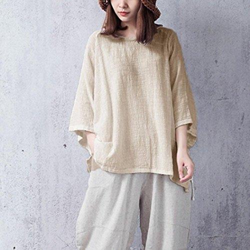 YUYOUG Femmes Sleeve Couleur Classique Beige Chemisier Tops Vintage Coton Loose Chemisier Unie Lin en Pull Classique 3 4 gwrXgq5Cx