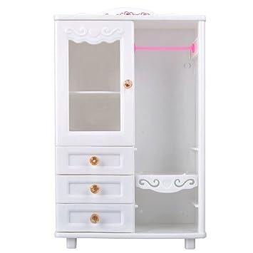 Eleganantamazing - Mueble para muñeca, Color Blanco, plástico, para Armario, Muebles, Juguetes, Accesorios para casa de muñecas: Amazon.es: Hogar