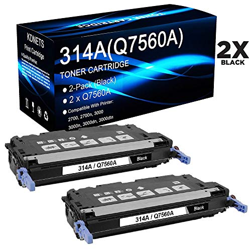 2-Pack (Black) Replacement for Color Laserjet 2700 2700n 3000 Printer Cartridge, 13,000 Page Yield, 2 Black Toner Cartridge Compatible with HP 314A Q7560A, by KDNETS