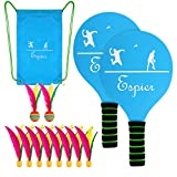 Espier Paddle Ball Set, Classic Beach Tennis Wooden Paddle Game with Carry Bag,Indoor/Outdoor Waterproof Badminton/Pickleball Game For Kids, Teens and Adults(2 player paddle+10 balls)