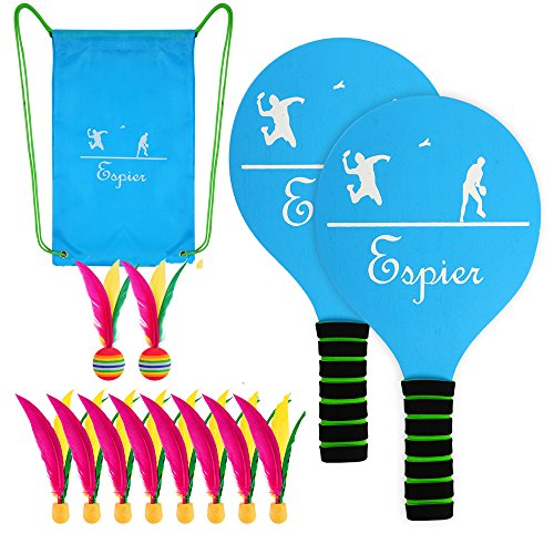 Espier Paddle Ball Set, Classic Beach Tennis Wooden Paddle Game with Carry Bag,Indoor/Outdoor Waterproof Badminton/Pickleball Game For Kids, Teens and Adults(2 player paddle+10 balls) by Espier