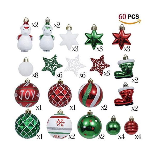 Valery Madelyn Palle di Natale 60 Pezzi di Palline di Natale, 3-4 cm Collezione Classica Ornamenti di Palle di Natale Infrangibili Rosso Verde e Bianco per la Decorazione Dell'Albero di Natale 2 spesavip