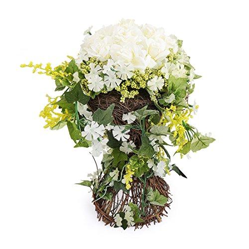 RERXN Pastoral Artificial Rose in Rattan Basket Silk flower Arrangement Centerpiece Home Wedding Decor (White)