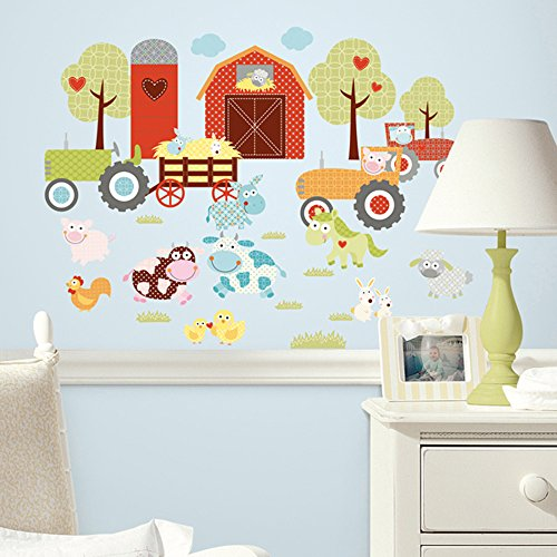 Barnyard Wall - RoomMates RMK1604SCS Happi Barnyard Peel and Stick Wall Decals