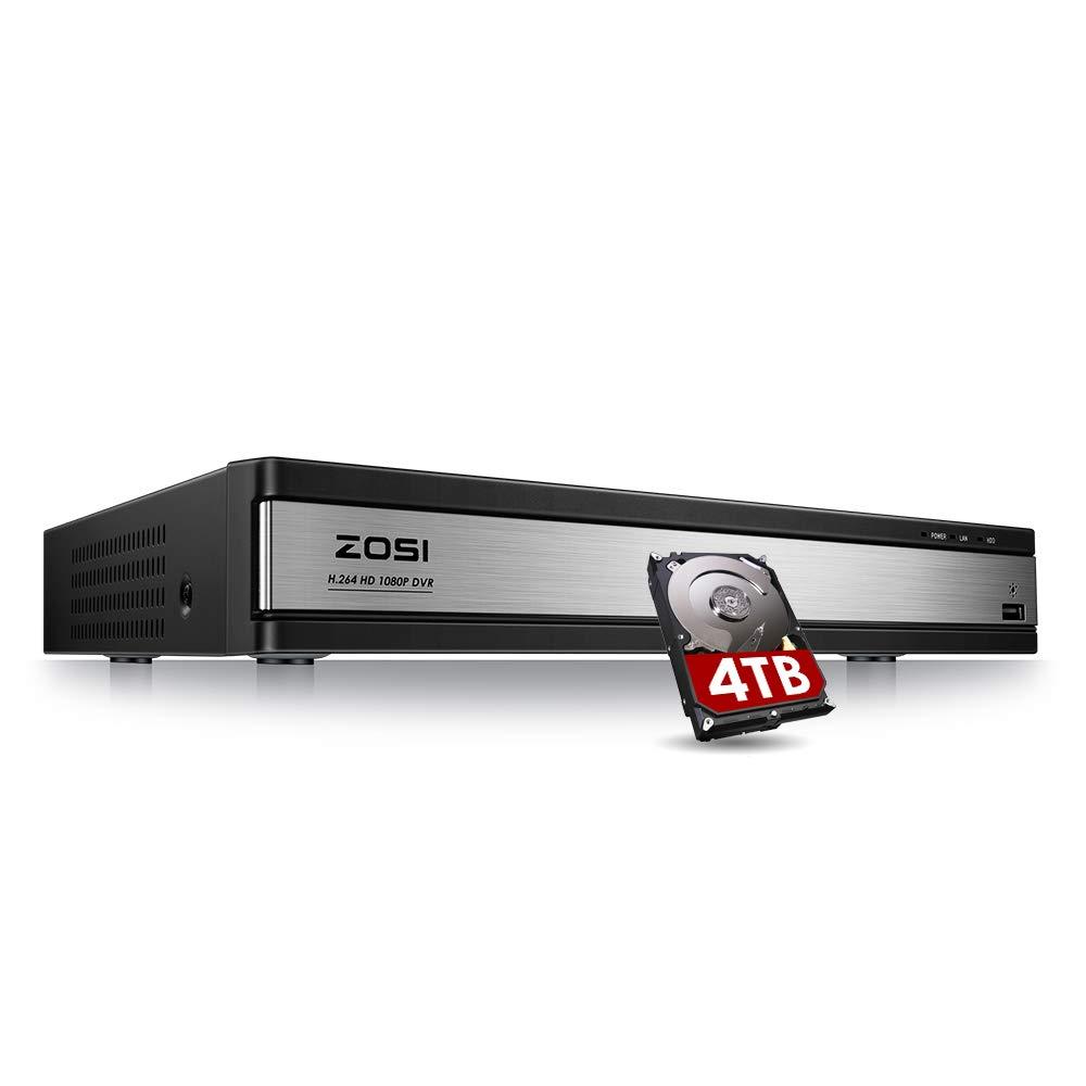 ZOSI 16CH 1080P Video Security Dvr Recorder with 4TB Hard Drive, 4 in 1 Hybrid (Ahd/Tvi/Cvi/Analog) CCTV Home Security System for HD-Tvi Cvi Cvbs Ahd 960H/720P/1080P CCTV Cameras by ZOSI
