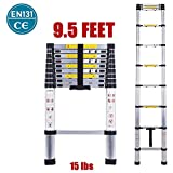 Telescopic Ladder EN131 Lightweight Aluminum Telescoping Ladder-Max Load 330 lbs,Nineaccy Extension Ladders for Home,Outdoor and Business etc. [Step A +++] (9.5FT/2.9M)