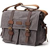 ZEKAR Mens Canvas Leather DSLR SLR Vintage Camera Messenger Bag
