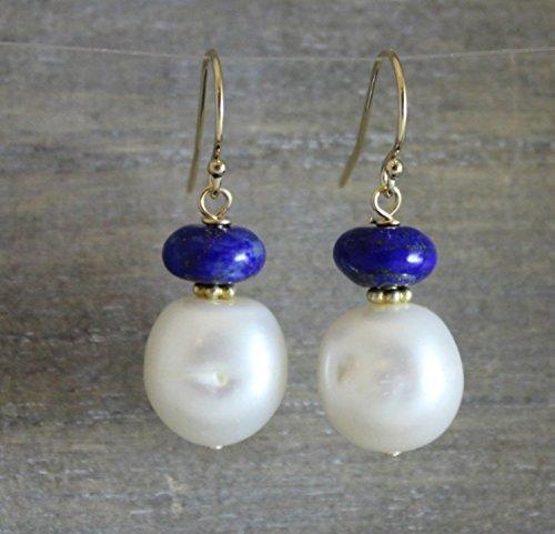 (Cultured Freshwater Pearl and Lapis Lazuli Gemstone Drop Earrings Earwires 1)