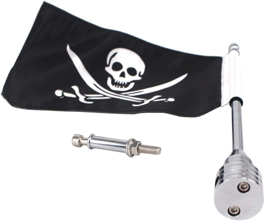 GUAIMI Motorcycle Adjustable Flag Pole Mount with 6 x 9 Inch Pirate Flag For Harley Davidson H-onda Goldwing CB VTX CBR Y-amaha