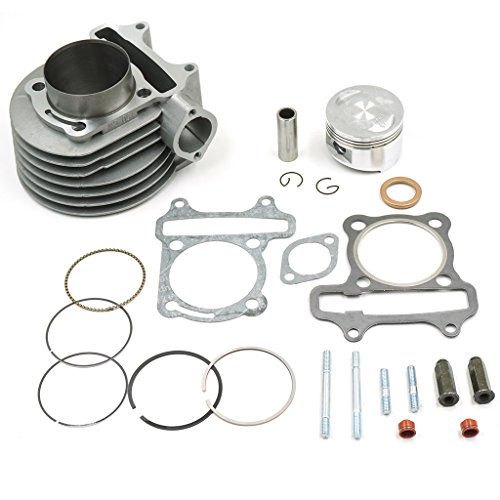Glixal ATMT1-017 GY6 150cc 57.4mm Cylinder kit with Piston Kit 4 Stroke 152QMI 157QMJ TAOTAO JONWAY ZNEN Roketa ATV Moped (Piston Kit Rebuild)