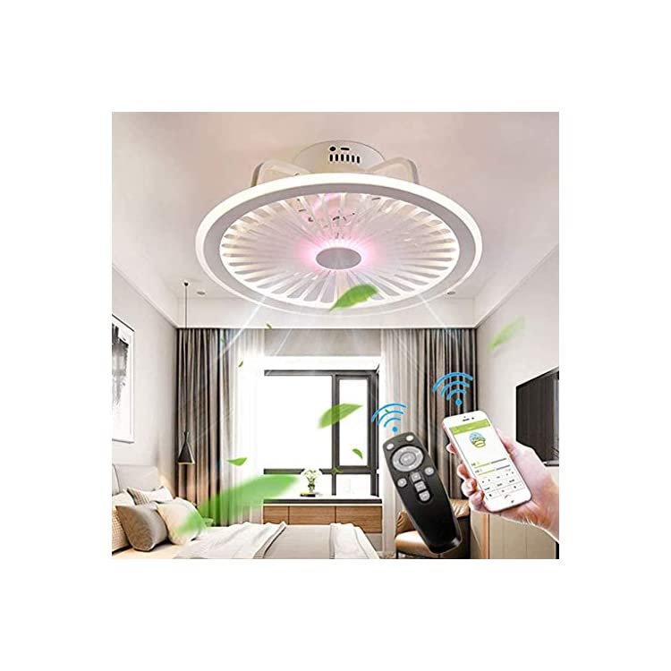 OMGPFR Mute Ceiling Fan with Lighting LED Light App and Remote Control Ultra-thin 18CM Ceiling Lamp Invisible Quiet 40W…