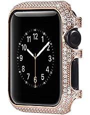 Kompatybilny z Apple Watch Case 38 mm 42 mm Bling, uniwersalny damski dziewczęcy kryształ górski diament brokat metalowa osłona do zegarka osłona ochronna osłona zderzaka obudowa zegarka do 38 mm Apple iWatch Series 1/2/3