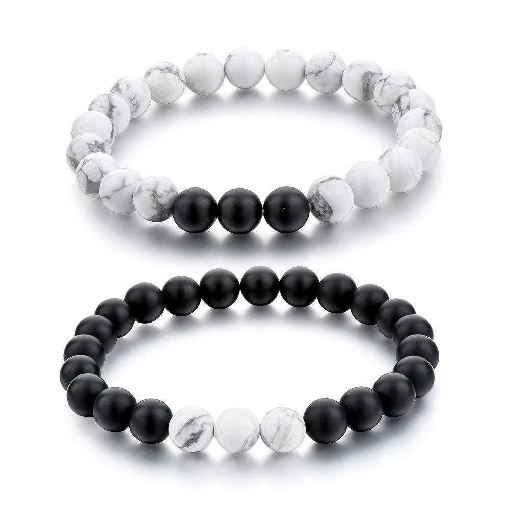 original à chaud chaussures de sport bébé Long Way Distance Bracelets for Lovers-2pcs Black Matte Agate & White  Howlite 8mm Beads