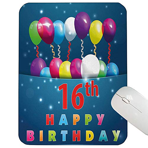 16th Birthday Support Mouse pad Sweet Sixteen Theme Teenage Design Party Balloons Kitsch Celebration Image Gaming Mouse pad Multicolor 12
