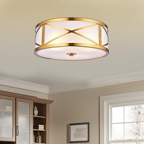 Gold 3 Light Flush (Jojospring Blanca Metallic Goldtone Metal 'X' Shape Frame 3-light Glass Drum Shade Flush Mount Fixture)