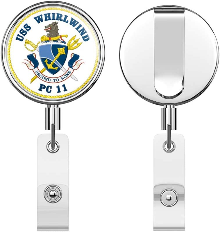 US Navy USS Whirlwind PC-11 Round ID Badge Key Card Tag Holder Badge Retractable Reel Badge Holder with Belt Clip