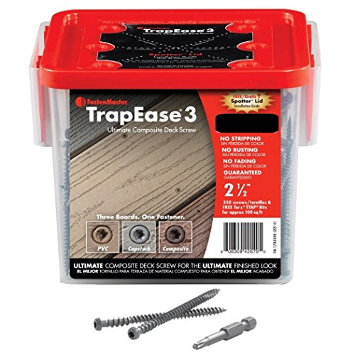 FastenMaster FMTR2-003-350TSGP 3-Inch TrapEase II High Density Composite Deck Screw for TREX Transcends, Gravel Path, 350-Pack