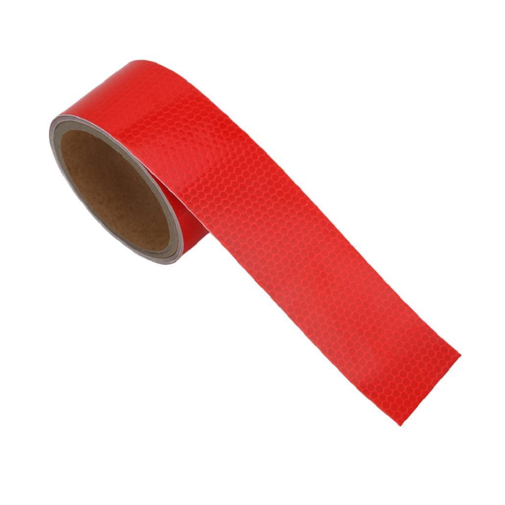 Yunso Ruban de signalisation adhé sif, ré flé chissant, é tanche et fluorescent 5 couleurs au choix, rouge réfléchissant étanche et fluorescent 5couleurs au choix
