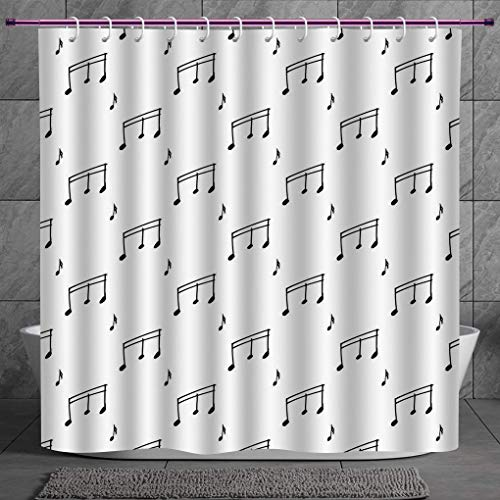 Cool Shower Curtain 2.0 [ Music,Musical Notes Themed Melody Sonata Singing Songs Clef Tunes Hand Drawn Style Pattern Print,Black ] Digital Print Polyester Fabric Bathroom Set