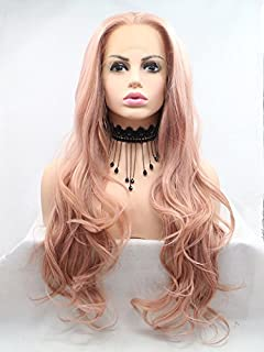 Xiweiya Peach Red Wigs For Women Rosie Whiteley Hairstyle Rose Gold