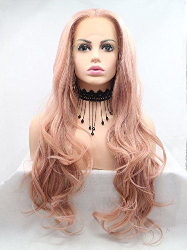 Lucyhairwig Lace Front Wigs Rose Gold Synthetic Lace Front Wig Long Wavy Natural Hairline Heat Resistant Fiber Hair Natural Looking Peach Pink Glueless Lace Wigs For (Synthetic Rose)