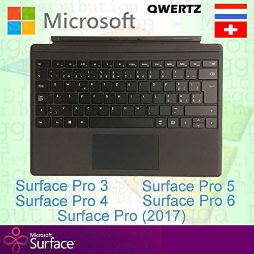 Microsoft Surface Pro Type Cover Suiza/Luxemburgo Suiza/Lux QWERTZ Teclado retroiluminado, negro - Compatible con Surface Pro 3, Pro 4, Pro (2017), ...