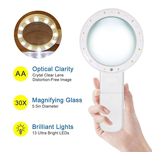 LED-Handheld-Magnifying-Glass–Skoye-30X-with-12-LED-Lights-Illuminated-Magnifier-Read-Easily-at-Night