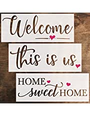 DLY LIFESTYLE Large Word Stencils and Templates for Painting on Wood – Home Sweet Home, This is Us, Welcome Stencil Set - - Reusable Farmhouse Stencils for Wood Signs, Walls, Fabric & DIY Projects
