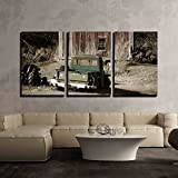 "wall26 - 3 Piece Canvas Wall Art - Old Truck in Front of a Old Barn - Modern Home Decor Stretched and Framed Ready to Hang - 24""x36""x3 Panels"