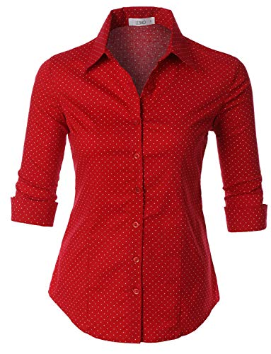LE3NO Womens Polka Dots Button Down 3/4 Sleeve Tailored Shirt ()