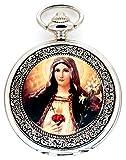 New Brand Mall Catholic Blessed Virgin Mary Silver Quartz Pocket Watch