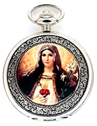 New Brand Mall Christianity the Virgin Mary Quartz Movement Pocket Watch
