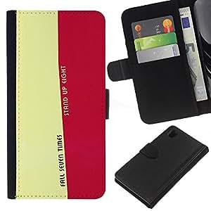 Sony Xperia Z1 L39 C6902 C6903 C6906 C6916 C6943 , la tarjeta de Crédito Slots PU Funda de cuero Monedero caso cubierta de piel (Fall Seven Times - Life Message)