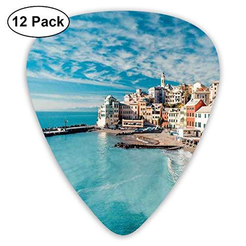 (Guitar Picks 12-Pack,Panorama Of Old Italian Fish Village Beach Old Province Coastal Charm Image )