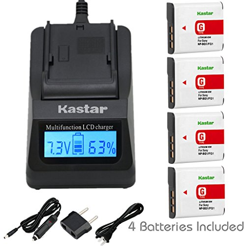 Kastar Fast Charger and Battery (4-Pack) for Sony NP-BG1, NP-FG1 and Cyber-shot DSC-W120, W150, W220, DSC-H3, DSC-H7, DSC-H9, DSC-H10, DSC-H20, DSC-H50, H55, H70, DSC-HX5V, HX7V, HX9V, HX10V, HX30V