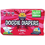 Disposable Dog Female Diapers | 20 Premium Quality Adjustable Pet Wraps with Moisture Control & Wetness Indicator | 20 Count X-Small Size
