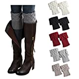 Bestjybt Womens Short Boots Socks Crochet Knitted Boot Cuffs Leg Warmers Socks (5 Pairs-Style A)