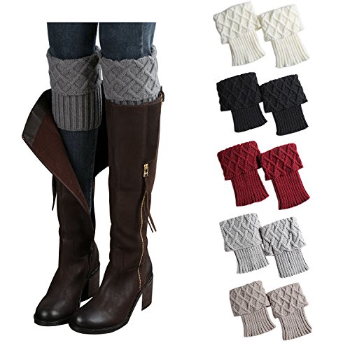 Bestjybt Womens Short Boots Socks Crochet Knitted Boot Cuffs Leg Warmers Socks (5 Pairs-Style A) -